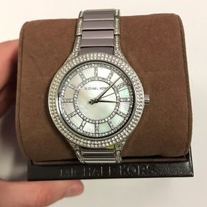 Michael Kors Silver Crystal Mother of Pearl Watch